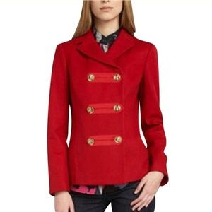 Tory Burch Red Wool Star Double Breasted Coat 10